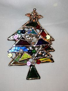 Stained Glass Christmas Tree Pin