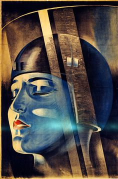 "Poster for Fritz Lang's film Metropolis shows the character Maria in Rotwang's transformation machine. Signed ""Klebrand"", c. 1926.    Via"