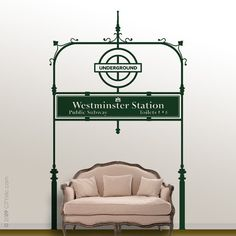 LONDON : WALL DECAL - Underground Tube Entrance at Westmister Station, Big Ben