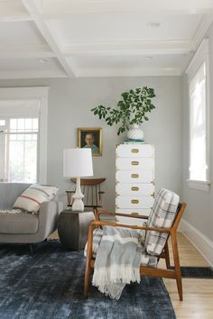 Gray Paint Colors - Vintage - living room - Sherwin Williams Aloof Gray - Emily Henderson