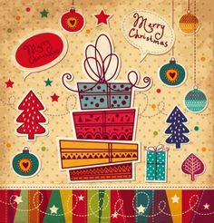 Tarjeta de Navidad de dibujos animados vector de material