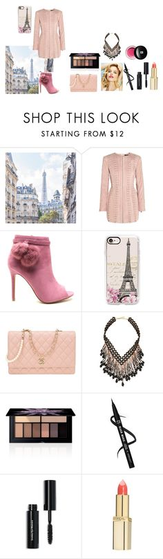 """For Scarlett (friend) - Scarlett's ideal wardrobe by me: #321: Eiffel Tower date!"" by sarah-m-smith ❤ liked on Polyvore featuring Balmain, Casetify, Chanel, NAKAMOL, Smashbox, Bobbi Brown Cosmetics, L'Oréal Paris and Edward Bess"