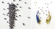 """Using a small scalpel as his primary tool, artist Chris Maynard (previously) carves artwork out of feathers giving them new life on a canvas. """"Each feather, though dead and discarded, keeps something of the bird's essence,"""" Maynard tells us. Indeed, the colo"""