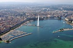 "the famous and worlwide known town called Geneva/Switzerland....home of the int. Red Cross, United Nations, the CERN and more in the middle of the picture you can see the famous ""Jet d'eau"""
