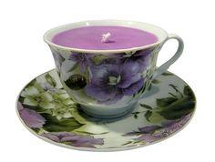 Lavender/Purple Flowered Porcelain Tea Cup & Saucer with