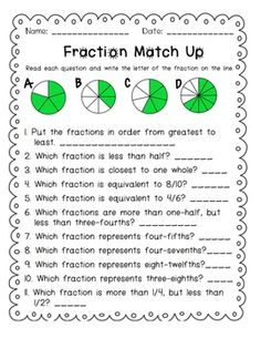Comparing Fractions to 1/2 | Tables, Mondays and Student