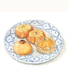 Golden traditional Thai sweets, such a sophisticated beauty ✨ Happy Thai New Year! Sweet Desserts, Delicious Desserts, Dessert Illustration, Watercolor Food, Watercolour, Food Sketch, Thai Dessert, Food Painting, Thai Art