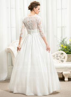 A-Line/Princess V-neck Floor-Length Ruffle Beading Sequins Zipper Up Covered Button Sleeves 3/4 Sleeves Beach Hall General Plus No Winter Spring Fall Ivory Taffeta Lace Wedding Dress