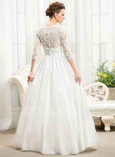 A-Line/Princess V-neck Floor-Length Taffeta Lace Wedding Dress With Ruffle Beading Sequins (002056594) - JJsHouse