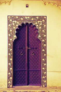 ornate purple door