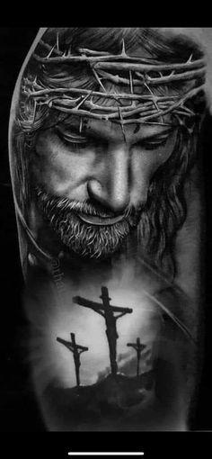 Jesus Tattoo Sleeve, Religious Tattoo Sleeves, Sleeve Tattoos, Jesus Tatoo, Religious Tattoos For Men, Christus Tattoo, Jesus Tattoo Design, Heaven Tattoos, Jesus Drawings