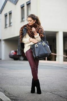 oxblood fake leather leggins, black booties, cream cable knit sweater, black leather jacket, leopard scarf