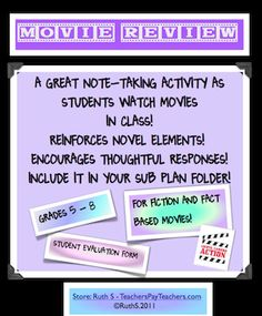 Want to keep your students focused as they watch videos in class? Ready to print worksheets that will keep them on their toes! A must have for even substitute folders!