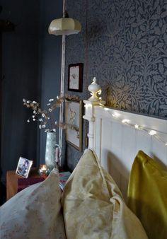 Dark grey bedroom, one room challenge, blush interiors, mandala artwork, morris & co wallpaper, and so to bed, dark grey walls, bedroom fairy lights.