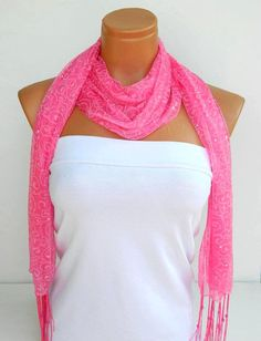Latest Fashion Pink bright sequined scarf shawl by WomanStyleStore, $13.50