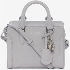 Alexander McQueen Grain Calf Mini Padlock (2,185 AED) ❤ liked on Polyvore featuring bags, handbags, shoulder bags, cloud blue, long shoulder bags, leather shoulder bag, long strap shoulder bags, mini shoulder bag and skull purse