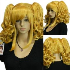 Amazon.com: Yazilind Loli Lolita Blonde Yellow Wavy Curly Full Bangs Ponytail Pig Tail Cosplay Anime Costume Wigs: Beauty