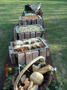If you're looking for a rustic wedding idea for your buffet, think about using red bricks to prop up your chafer dishes. If you want to see more, check out our website at http://cateringaffairsinc.com