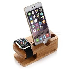 Apple Watch Stand, ISELECTOR Bamboo Charging Stand Charger Dock Station Cradle Holder for Apple Watch and iPhone 6s Plus / 6s / 6 Plus / 6 / 5s / 5c / 5 iSelector http://www.amazon.co.uk/dp/B013B39P3U/ref=cm_sw_r_pi_dp_EOrdxb11V1WV0