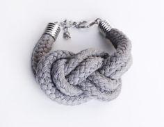Sailor Knot  Cotton Bracelet in grey by ChezKristel on Etsy, $22.00