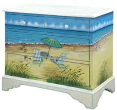 Beach Art Furniture -Painted Dressers, Chests & more – Beach Bliss Living: http://beachblissliving.com/beach-art-on-furniture-painted-dresser-chest/
