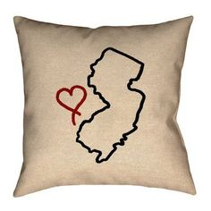 "Ivy Bronx Austrinus New Jersey Love Outline Size: 20"" x 20"", Material/Product Type: Faux Linen Double Sided Print/Throw Pillow"