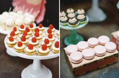 Macroons and raspberry toppings