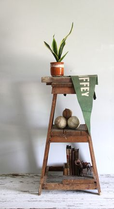 vintage tiered wood shelf / industrial standing by wretchedshekels, $298.00
