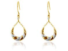 9ct Yellow Creole Style Drop       Earrings Set With Cz's