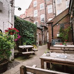 Garden at Ate o'clock, York #garden #london #GB #England #street #cafe #restaurant #minimal #urban #architexture #building #city #architecture #nature