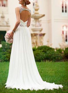 KingBridal V Neck Shoulder Straps Soft Ruching Chiffon Wedding Gown (6, Ivory)