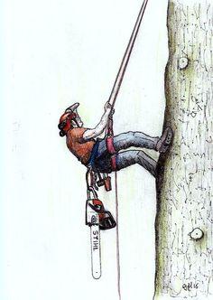 A4 Print of a Arborist felling ,stihl lumberjack chainsaw,husqvarna, TREE SURGEON  ART by JapaneseKoiPainting on Etsy