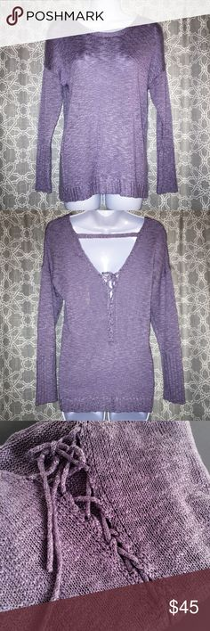 🆕[pink rose] lace up back sweater • long sleeve slub sweater • color: wild lavender • lace up back detail • condition: nwt, never worn ____________________________________________________ ✅ make an offer!     ✅ i bundle! ✅ posh compliant closet ⛔️ no trades Pink Rose Sweaters Crew & Scoop Necks