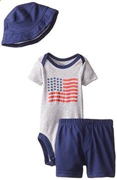 74d7c7a568b Gerber Baby-Boys Newborn 3 Piece Short Set Bodysuit Hat and Short USA Blue  12