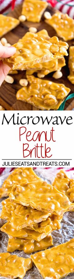 Microwave Peanut Brittle Recipe ~ Quick and Easy Christmas Treat that's Made in your Microwave! This Sweet is perfect for Goodie Trays! ~ https://www.julieseatsandtreats.com