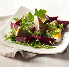 Spring nicoise salad... baby beets, artichokes, new potatoes, and quick seared tuna or salmon... heaven on a plate.