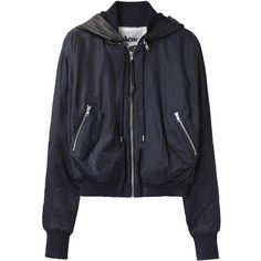 Acne Halebop Sateen Jacket ($441) ❤ liked on Polyvore featuring outerwear, jackets, tops, coats & jackets, padded jacket, navy zip up jacket, lined hooded jacket, hooded drawstring jacket and sateen jacket