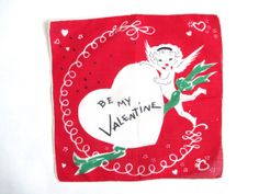 Vintage Valentine's Day Handkerchief Sweet Cupid by NeatoKeen, $18.00