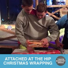 Attached at the Hip Christmas Wrapping! Put students in teams, and link them tog… Attached at the Hip Christmas Wrapping! Youth Ministry Games, Youth Group Activities, Youth Games, Activities For Teens, Team Games, Games For Teens, Fun Games, Ministry Ideas, Christmas Activities For Adults