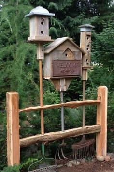 Old yard tools converted to bird hotels