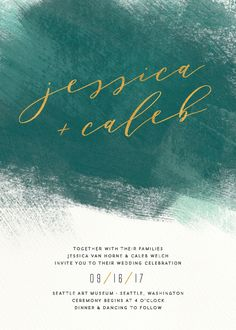 Modern Brushstroke wedding invitation in green and teal. Love this color palette!