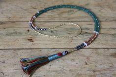 2 itty bitty 108 bead malas in One! petite mini mala necklace, green aventurine, pyrite, rainbow moonstone, garnet, sapphire, tiny