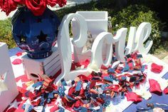 All american red, white, and blue wedding ideas. Sweetheart table designed by Imprint Affair.