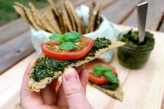 Wild Nettle Pesto + Italian Flaxseed Crackers