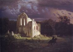 Arnold Böcklin >> Ruins in the moonlit landscape >>1849.