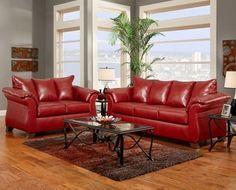 details about sierra red bonded leather sofa loveseat living room furniture set