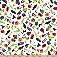 Be Witched Boo! Cotton Fabric - White by Beverlys.com: