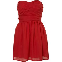 **Chiffon Bandeau Dress by Rare ($15) ❤ liked on Polyvore featuring dresses, vestidos, robes, vestiti, oxblood, chiffon dress, ruched cocktail dress, red bandage dress, tube top and red sweetheart dress