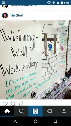 Wishing Well Wednesday Future Classroom, School Classroom, Morning Meeting Activities, Morning Meetings, Morning Board, Daily Writing Prompts, Responsive Classroom, Leadership, Classroom Community