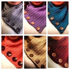 Crochet scarves that button! http://www.etsy.com/shop/dolledupinc